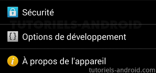 Options de développement Android
