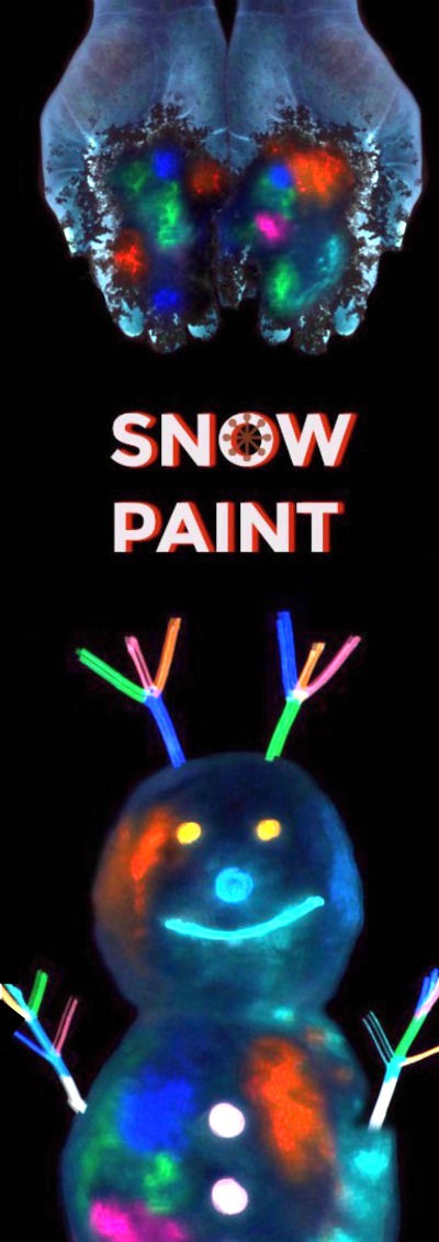 "GLOW-IN-THE-DARK SNOW PAINT FOR KIDS- the ""coolest"" outdoor winter playtime for kids EVER! (only 2 ingredients) #kids #kidscrafts #wintercrafts #snowpaint #paintrecipes"