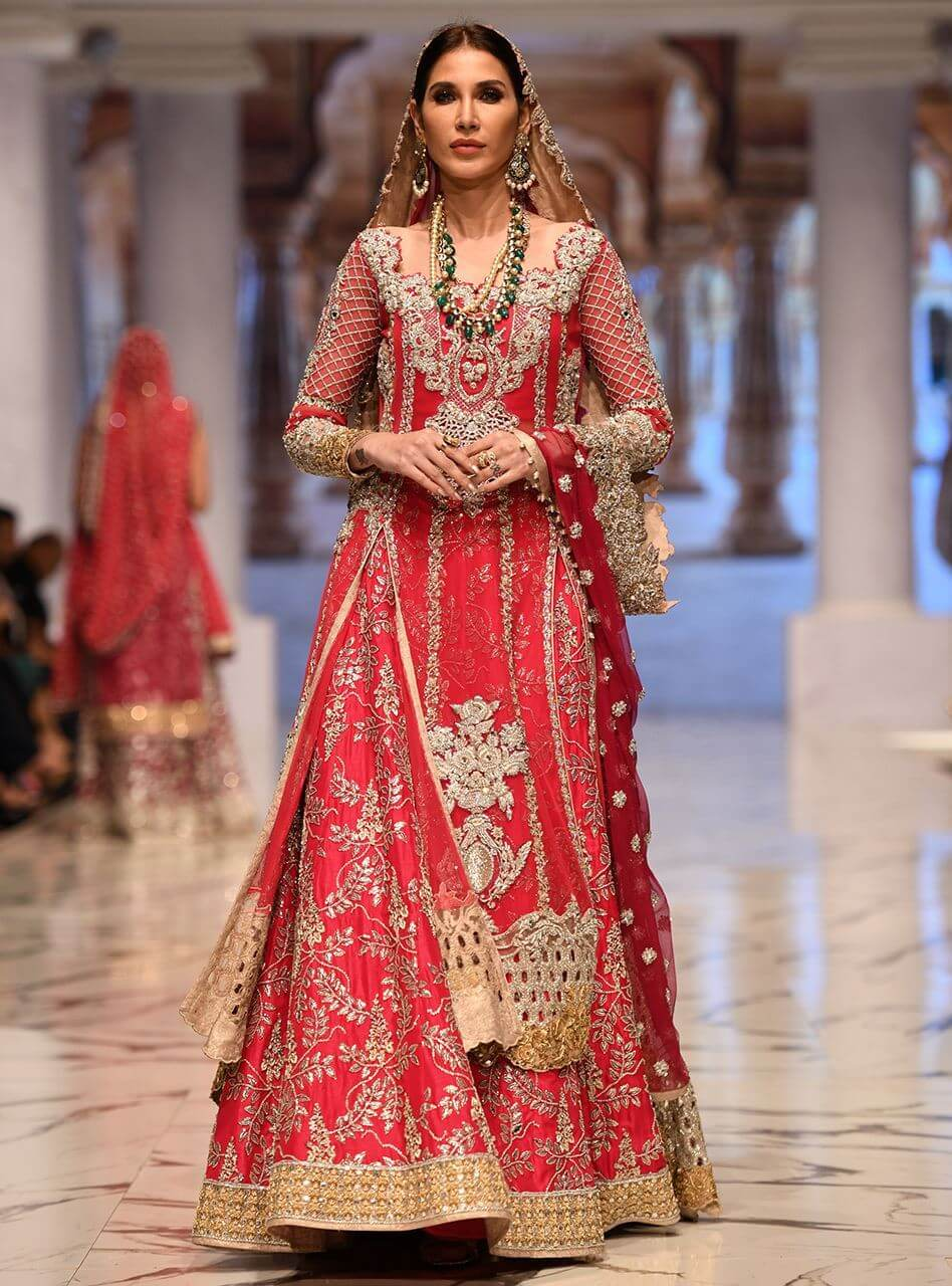Zainab Chottani Red Bridal Victorican Long Shirt with Embellished Sharara