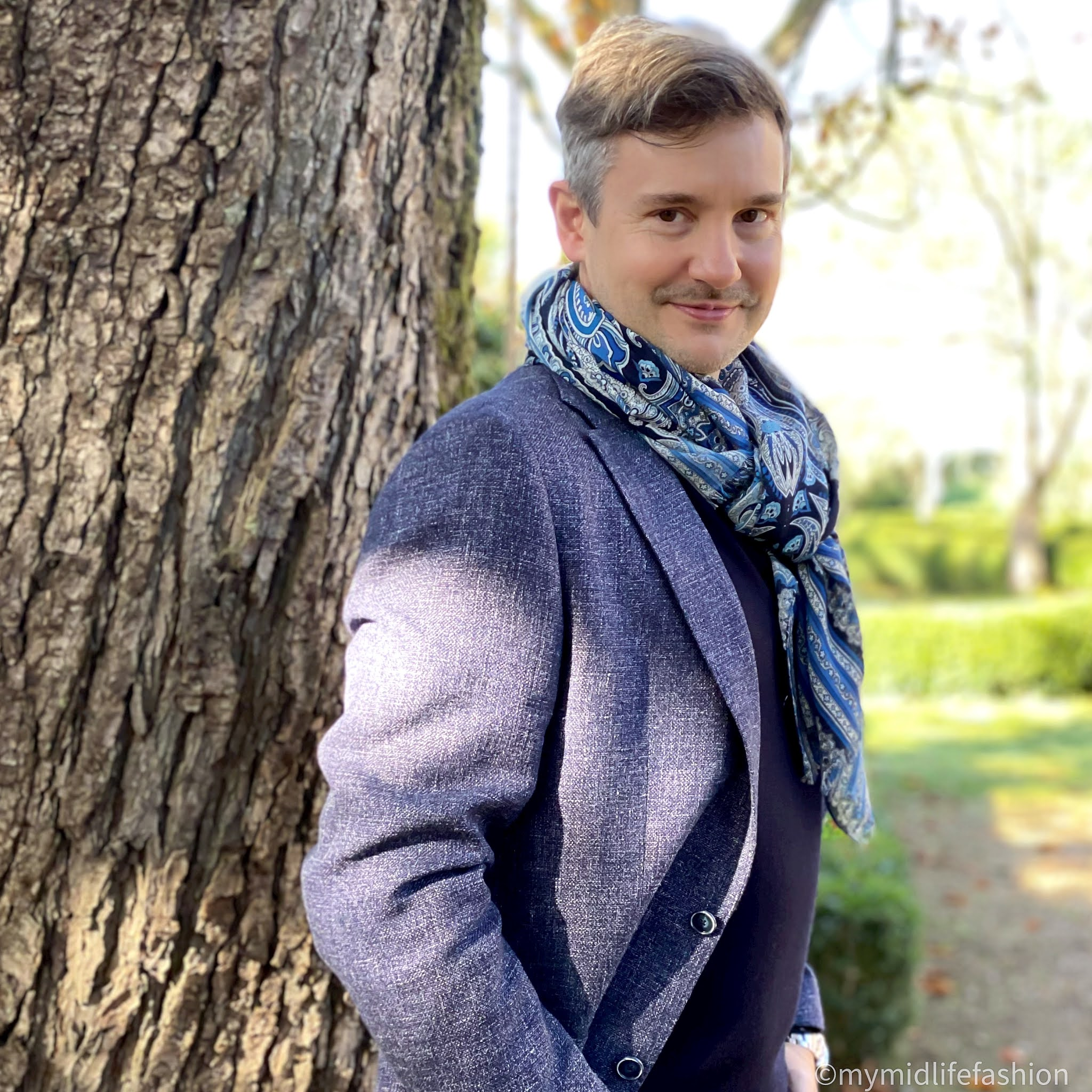 my midlife fashion, hawes and Curtis Italian wool linen blend mens jacket, hawes and Curtis merino wool polo neck jumper, hawes and Curtis navy and blue big paisley scarf,