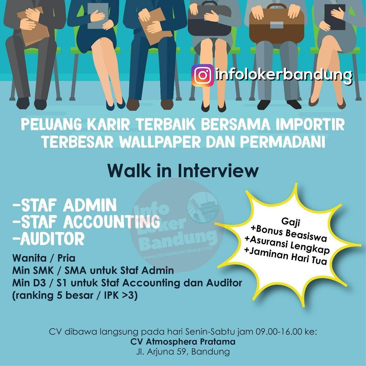 Walk In Interview CV. Atmosphera Pratama Bandung Januari 2019
