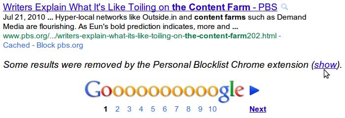 Bloquez et débloquez des sites à volontés pour leur interdire d'apparaître dans les résultats de vos recherches.