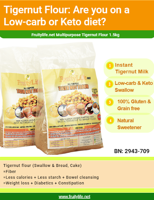 For Instant Milk: Add 3 tbsp of Tigernut flour in a glass of water, add Dates syrup (alternatively honey) and coconut water. Then stir before serving your instant Tiger nut milk (Kunnu Aya or Horchata de chef).  For Swallow:  Mix 1 cup of Tigernut flour with ½ cup of semolina or binders (½ tbsp Psyllium husk & ¼ tbsp Xanthan gum) for less calories and starches diet.  For Meal: Use as Natural sweetener for oat meal, custard, coffee and other recipes.   For Baking:  Use only Tigernut flour for 100% gluten and grain free baked goods. Mix with wheat and other baking flour for improved flavor, nutrients and quality.