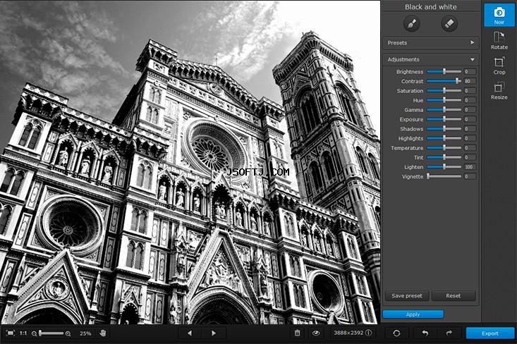 برنامج تحويل الصور الملونة للأبيض والأسود Movavi Photo Noir 1.0.1