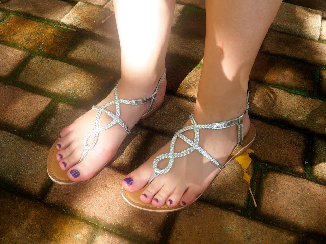 Disneybound outfit as Meg from Hercules - shoe details of silver strappy sandals