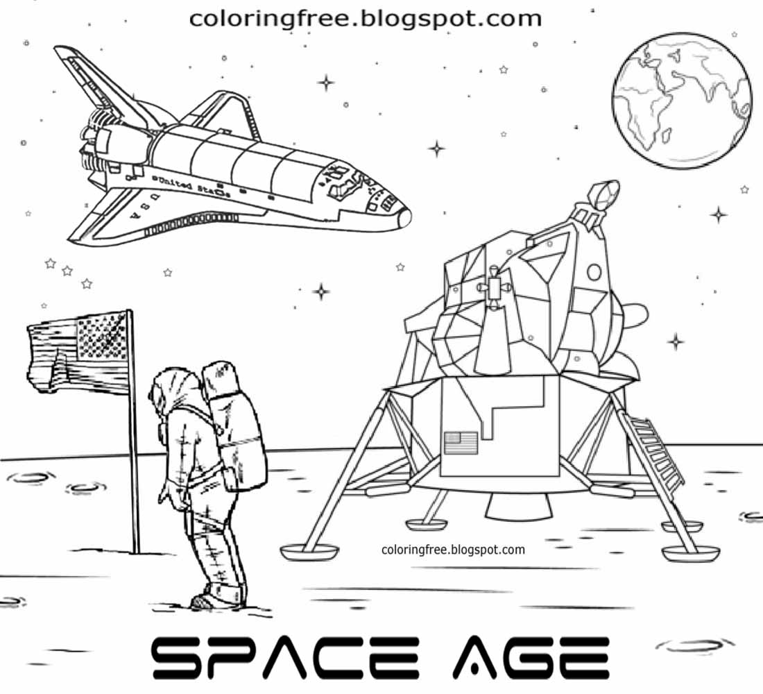 american astronaut nasa lunar landing man on the moon coloring pages kids space cartoon illustration