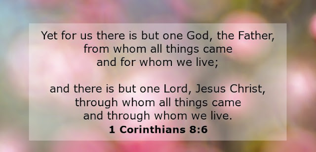 Yet for us there is but one God, the Father, from whom all things came and for whom we live; and there is but one Lord, Jesus Christ, through whom all things came and through whom we live.