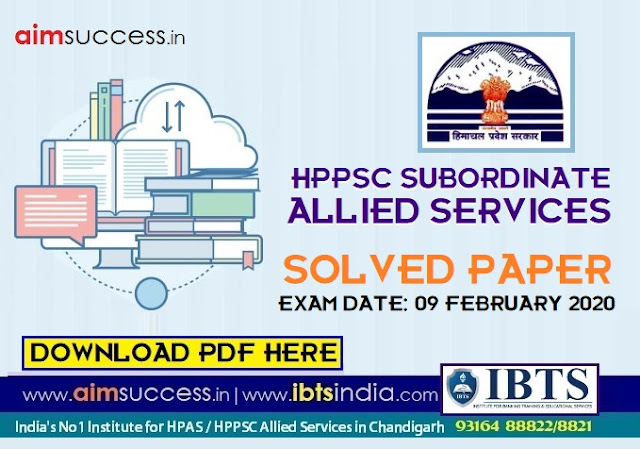 HPPSC Subordinate Allied Services Solved Question Paper & Answer Key 09 February 2020