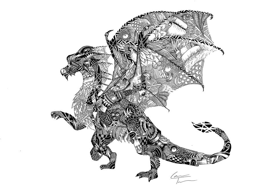 07-Dragon-Telfer-Game-of-Thrones-Zentangle-and-more-www-designstack-co