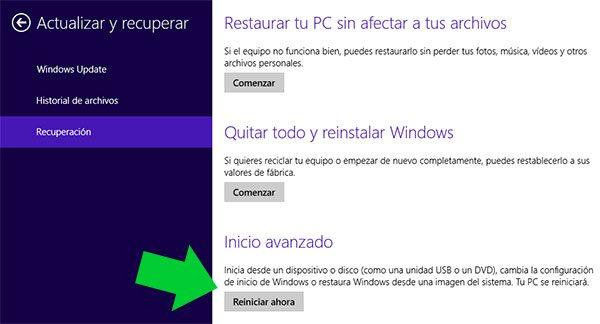 como ingresar a la BIOS en Windows 8 U 8.1