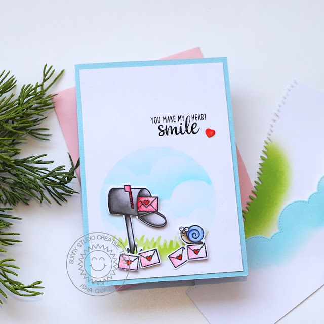Sunny Studio Stamps: Snail Mail Slimline Dies Friendship Card by Isha Gupta