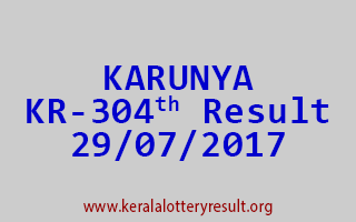 KARUNYA Lottery KR 304 Results 29-7-2017