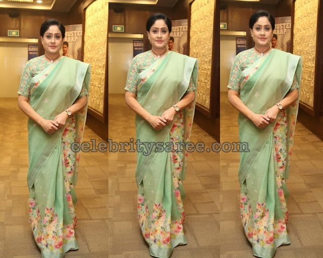 Viajaya Shanthi in Pistachio Green Saree