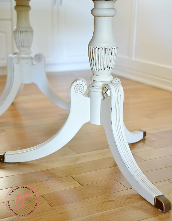 Duncan Phyfe Dining Table Legs Painted White
