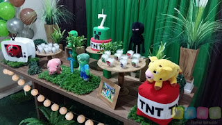 Decoração de festa infantil Minecraft