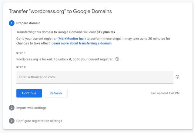 Google domain transfer assistant