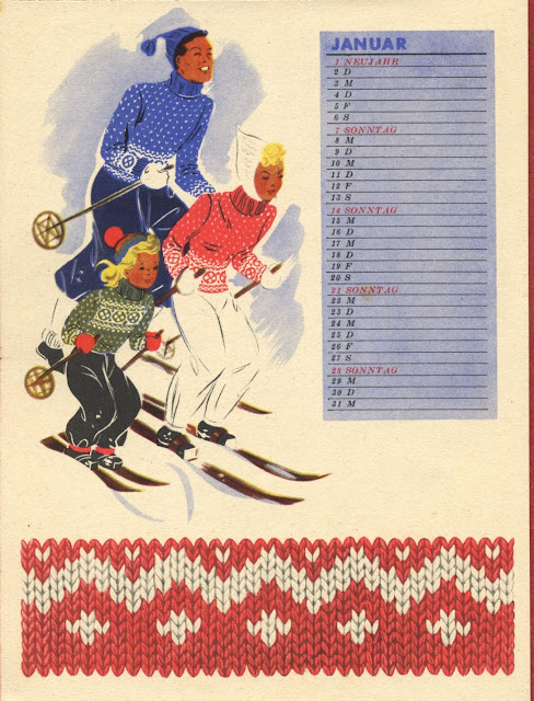 The Vintage Pattern Files : Free 1940's Knitting Pattern - Norwegian Style Family Ski Jumpers