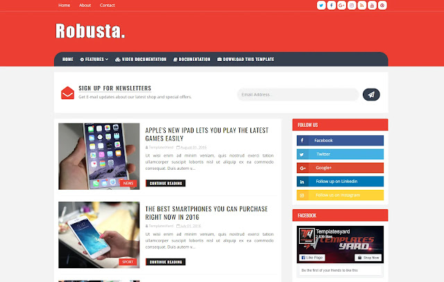 Robusta Responsive Personal Blog Tutorial Tips & Tricks Blogger Template Theme