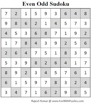 Even Odd Sudoku (Fun With Sudoku #67) Solution