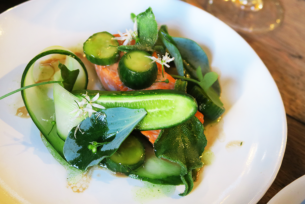 Slow Baked Trout and Pickled Cucumber with Sea Herbs