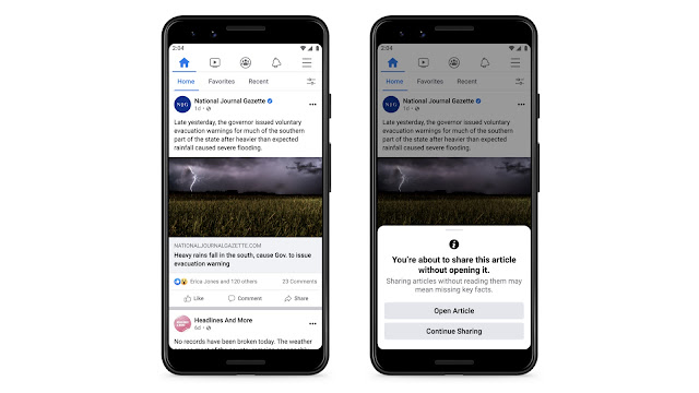 Facebook to Show a Warning to Users Before Reposting of a News Article