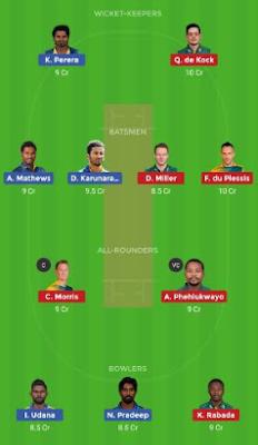 SL vs SA dream 11 team | SA vs SL