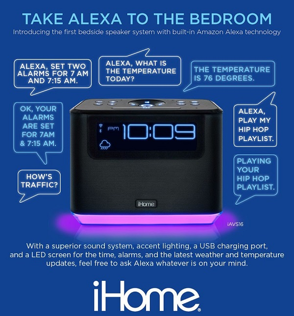 iHome Clock Radio w/ Built-in Amazon Alexa Technology.  Product No. iAVS16