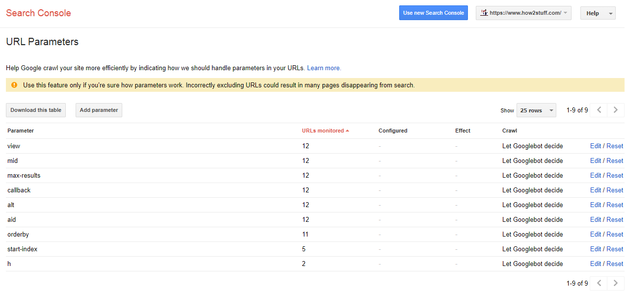 Google Webmaster Tool Max-results Parameters