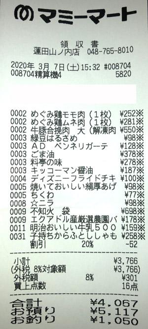 マミーマート 蓮田山ノ内店 2020/3/7 のレシート