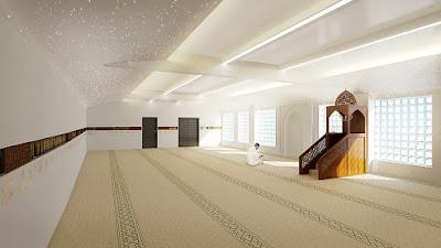 Perspective 3d mosquée salle de prières