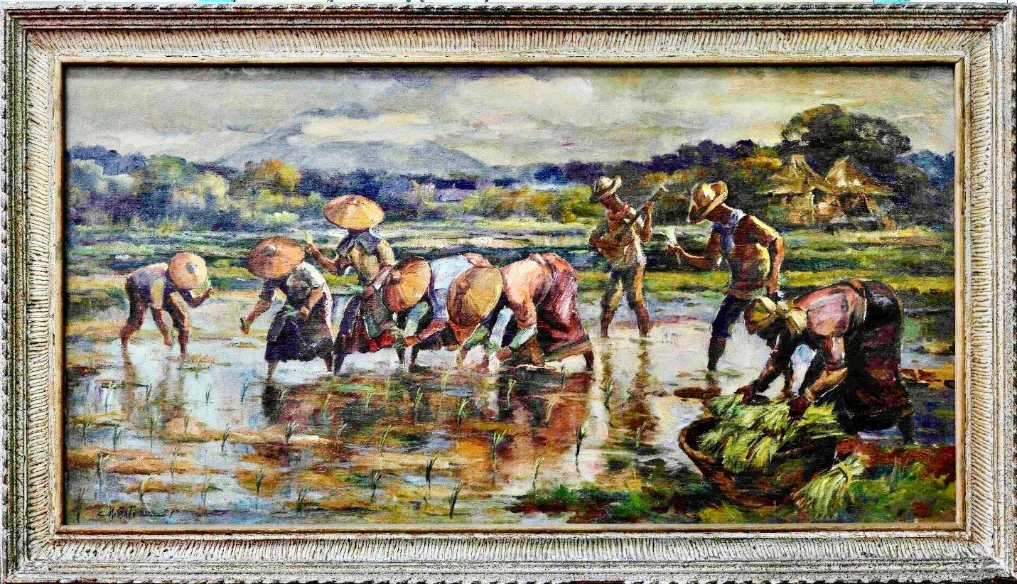 artwork portrays farmers doing their painstaking task of planting rice in a Philippine rural area