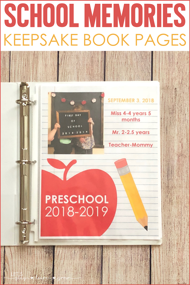 Free School Memory Keepsake Binder