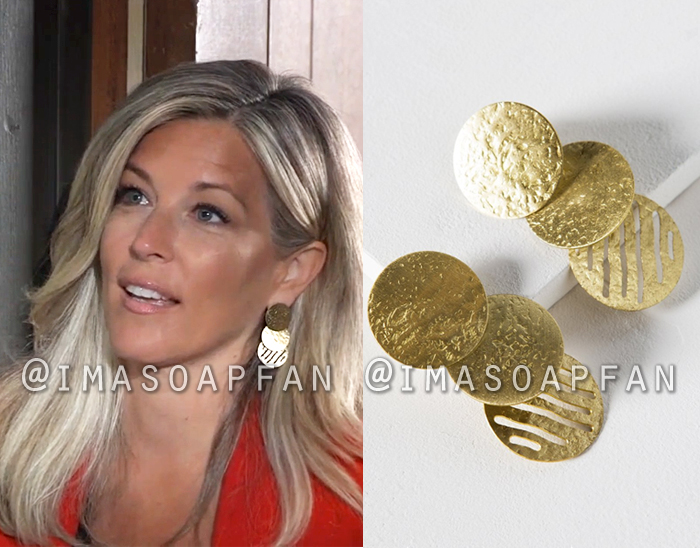 Carly Corinthos, Laura Wright, Hammered Gold Triple Coin Drop Earrings, General Hospital, GH