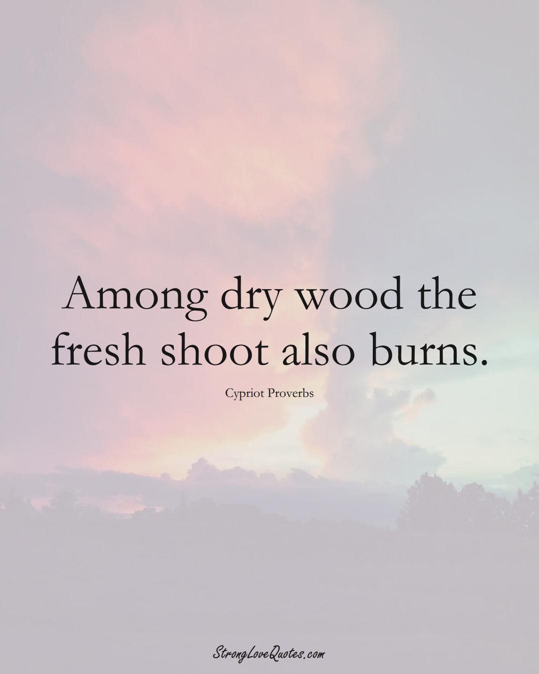 Among dry wood the fresh shoot also burns. (Cypriot Sayings);  #MiddleEasternSayings