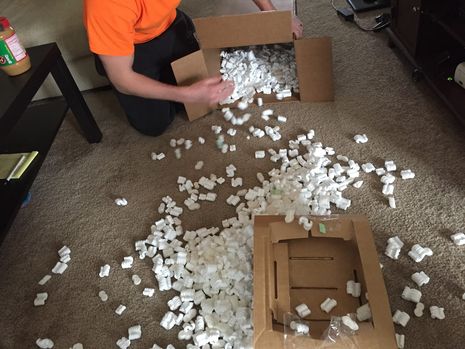 packing peanuts on the floor
