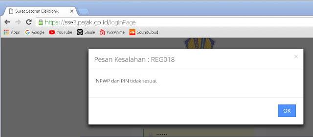 reg018 npwp dan pin tidak sesuai