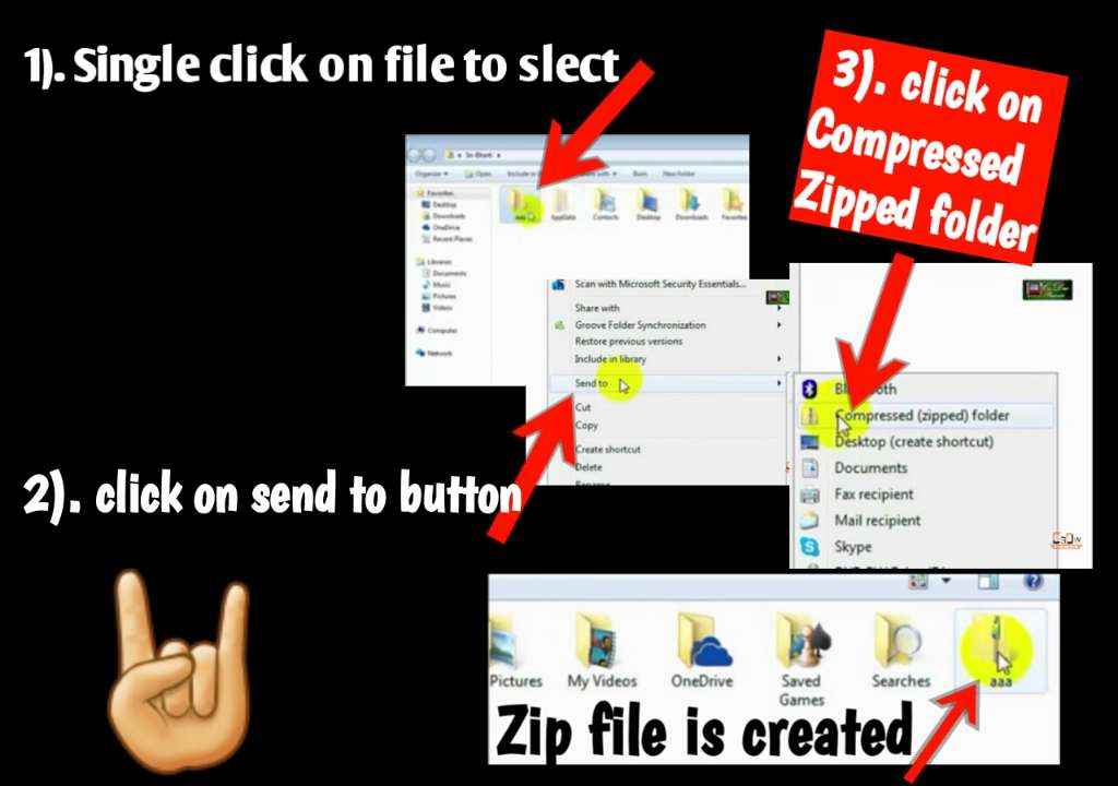 Steps to create Zip file in pc