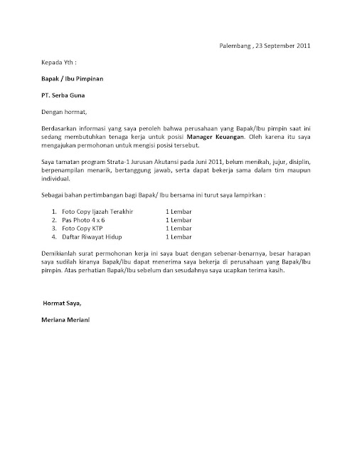 Contoh Surat Lamaran Kerja Di Bank Dalam Bahasa Inggris