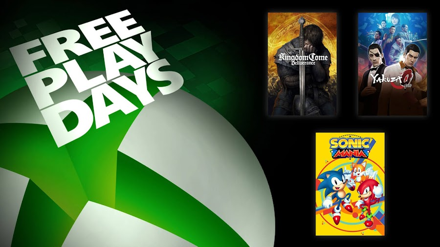 kingdom come deliverance sonic mania yakuza 0 xbox live gold free play days event