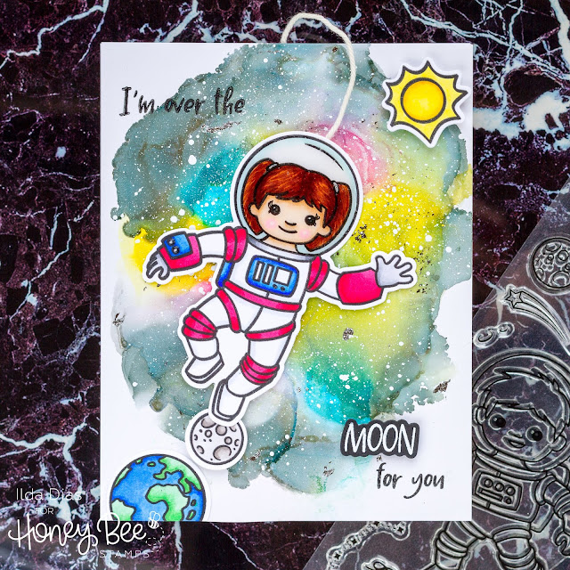 Out of this world Galaxy Astronaut Interactive Spinner Card | Day 2 Sneak Peek Honey Bee Stamps 5th Anniversary Release
