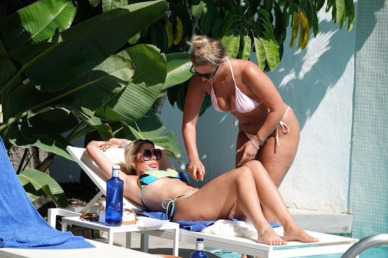 Bethan Kershaw, Chloe Ferry in Bikinis at a Pool in Spain 3 Sep- 2020