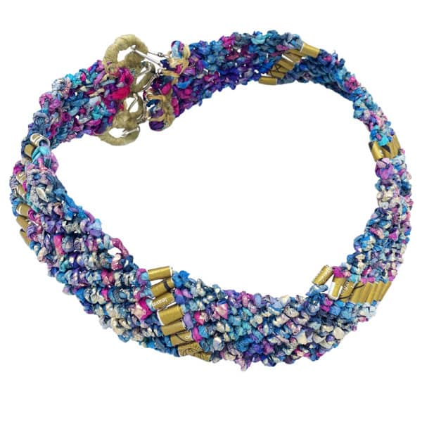 woven paper choker necklace in shades of purple, blue, pink, and gold