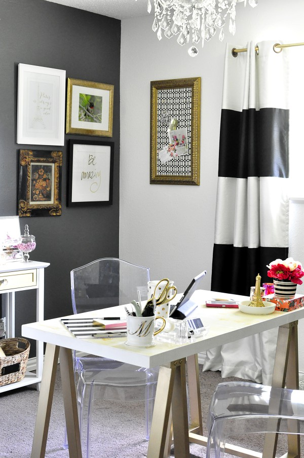 Black White Gold Home Office Reveal