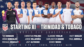 US Men's National Team Starting Lineup, 10 Oct 2017