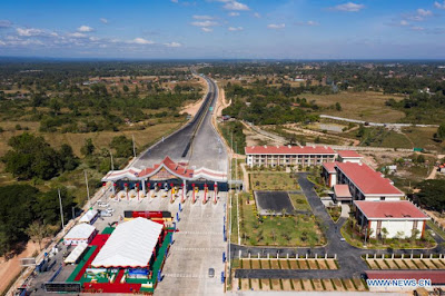 Aerial photo taken on Dec. 20, 2020 shows a view of the Vientiane-Vangvieng section of the China-Laos expressway in Vientiane, Laos.