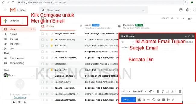 cara mengirim tugas email laptop