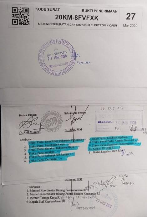 Surat Terbuka Ketua Umum F SP LEM SPSI Arif Minardi untuk Ketua DPR RI Ibu Puan maharani