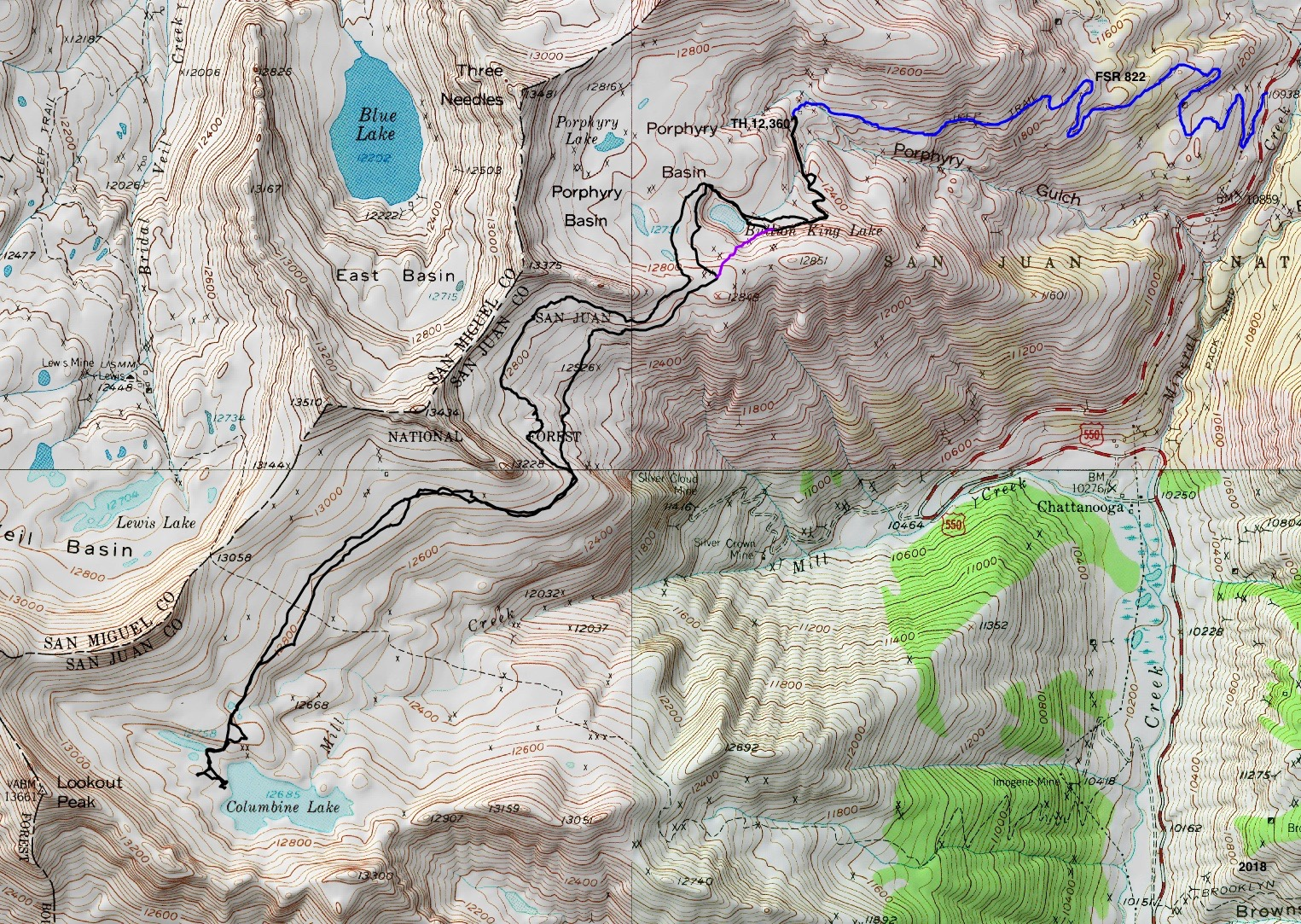 while bearing southwest if you are not entirely confident in your navigation ability take the standard trail initiating off the ophir pass road