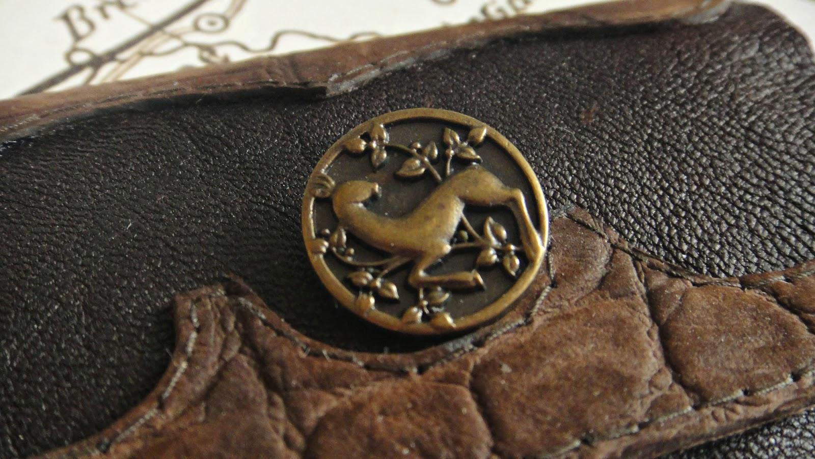Картхолдер, натуральная кожа, коричневый на пуговице, для карточек и визиток