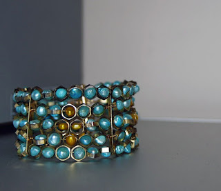 Freshwater Pearl Bracelet Gold with Hexagon Beads by Nancy Tranter